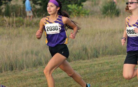 Junior Alliyah Lebensorger runs at the 10 team meet on Sept. 5.