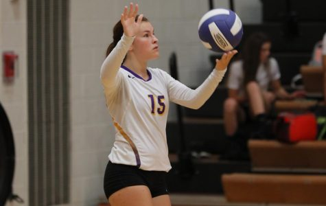Senior Montana Morris gets ready to serve the volleyball. She went on to have 250 digs on the season.