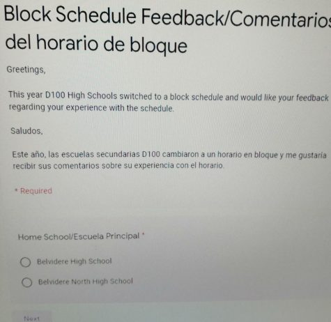 BHS Students take a survey on block scheduling